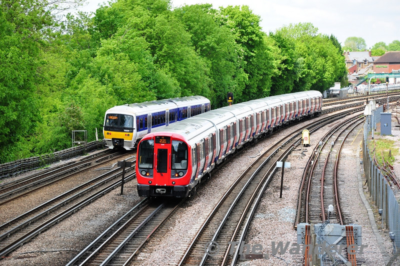 London Underground and Chiltern Trains side by side at Highfield Road Bridge, Northwood. Sat 25.05.13