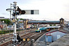 Signal HD35 controls departures from Holyhead's Platform 1. In the backround 175111 and 221104 wait their next duties. Thurs 23.05.13
