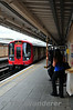 Hammersmith and City Line Train arrives at Latimer Road. Sat 09.08.14