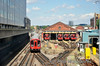 S7 Stock at Hammersmith Depot while a train also departs for the City. Sat 09.08.14