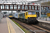 90045 passes Stratford Station with 0503 Trafford Park F.L.T. to Felixstowe North F.L.T. Freightliner service. Wed 23.04.14