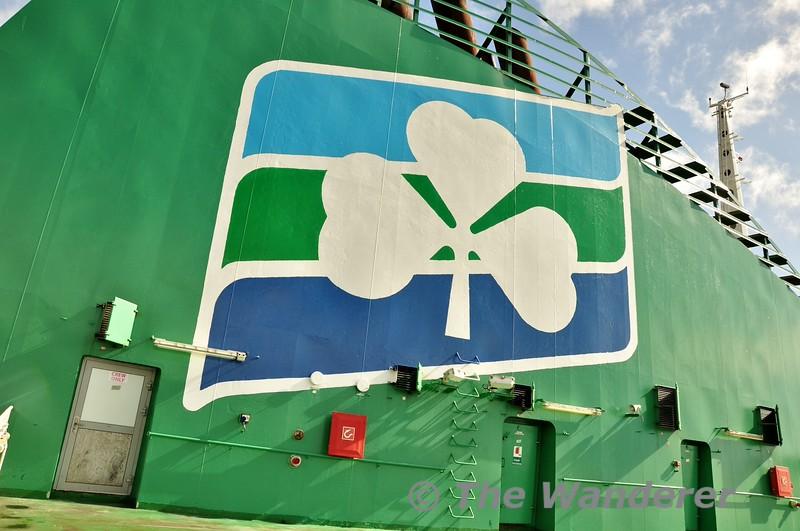Irish Ferries logo on the Ulysses. Tues 19.05.15
