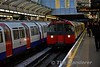 Heathrow bound Piccadilly Line train arrives at Hammersmith. Sat 19.11.16