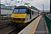 90047 stands at Edinburgh after arriving with the 0634 Carstairs to Edinburgh. This split from the 2350 London Euston - Glasgow Sleeper at Carstairs. Tues 02.08.16
