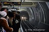 Central line train approaches Bond Stree. Note the incline before the station. Behind the camera the line will fall away. This helps braking and acceleration and has the side benefit of having platforms closer to street level. Fri 13.01.17