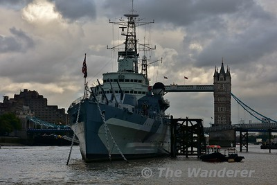 HMS Belfast viewed from the Metor Clipper boat. Sat 16.09.17