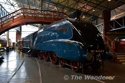 LNER steam locomotive 'Mallard' 4-6-2 A4 Pacific class, No 4468 on display in the Great Hall at the National Railway Museum. Sun 12.11.17