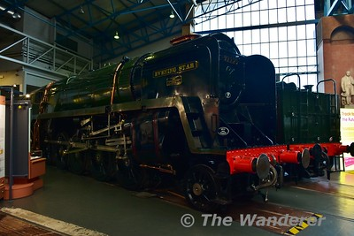 "British Railways, 9F class 2-10-0 No 92220 ""Evening Star"", designed by R.A.Riddles, built at Swindon in 1960, withdrawn in 1965 on display in the Great Hall at the National Railway Museum. Sun 12.11.17"