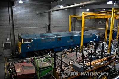The workshop area of the National Railway Museum. LNER A4 60007 Sir Nigel Gresley is currently undergoing overhaul there. Sun 12.11.17