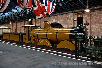 London Brighton & South Coast Railway locomotive Gladstone on display in the Station Hall at the National Railway Museum. Sun 12.11.17