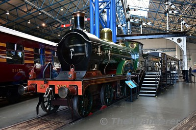 SECR 4-4-0 D Class No 737 on display in the Great Hall at the National Railway Museum. Sun 12.11.17