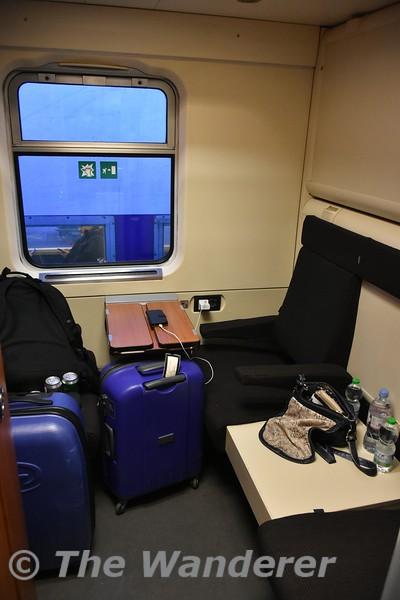 Interior of Thello Sleeping Car carriages at Paris Gare de Lyon. Tues 20.03.18