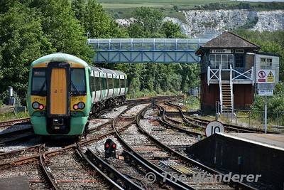 377461 departs from Lewes with the 1201 Brighton to Ore. The train terminated at Hastings due to a trespass incident. . Wed 23.05.18