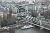 The view from the London Eye looking down on Charling Cross. Fri 16.03.18
