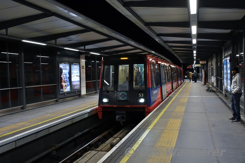 DLR 53 arrives into Tower Gateway with a service from Beckton. The station was rebuilt from its original 2 track layout to a single track several years ago. Thurs 15.03.18