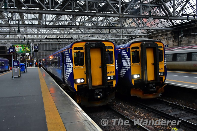 156505 and 156495 at Glasgow Central with the 1443 Glasgow Central to Kilmarnock & 1447 Glasgow Central to East Kilbride. Tues 26.11.19