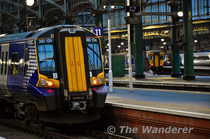 380104 and 156507 at Glasgow Central. Tues 26.11.19