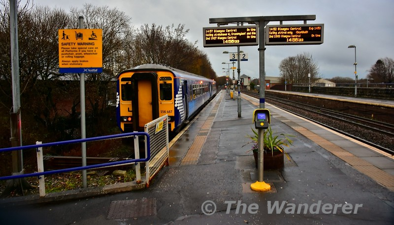 156467 at Barrhead with the 1457 Barrhead to Glasgow Central. Tues 26.11.19