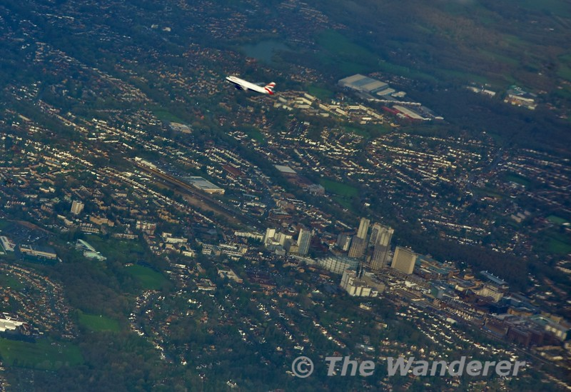 BA202 is in front of us on the approach to LHR with G-VIIM from BOS to LHR. In the backround is Woking. Fri 05.04.19