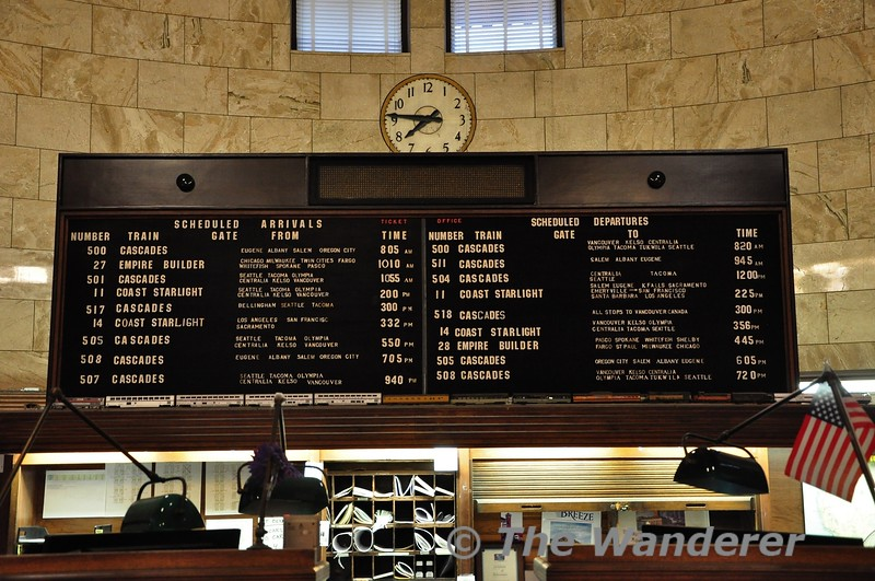 Departures board at Portland Union Station. Wed 25.09.19