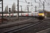 """The 0540 Edinburgh to London Kings Cross """"Flying Scotsmand"""" passes through York non stop with appropriately 91101 """"Flying Scotman"""" providing the traction at the rear. Mon 10.02.20"""