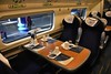 First Class interior of an Avanti West Coast 390 with the tables laid out for meal service. Mon 10.02.20
