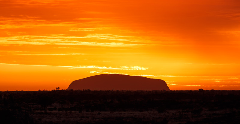 Northern Territory, Uluru - Sunrise over Uluru seen from Kata Tjuta, red