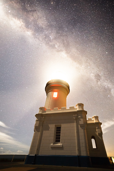 New South Wales, Byron Bay - Milky Way and moon behind lighthouse