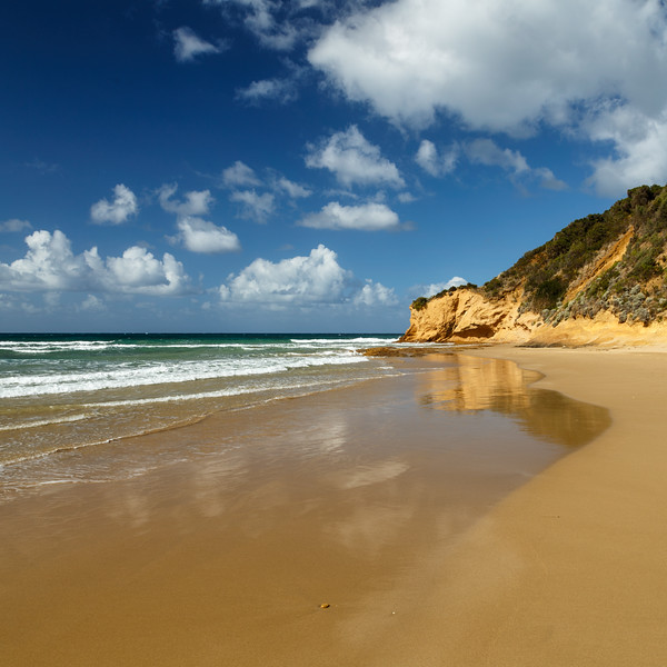Victoria, Great Ocean Road - Sandy beach with clouds