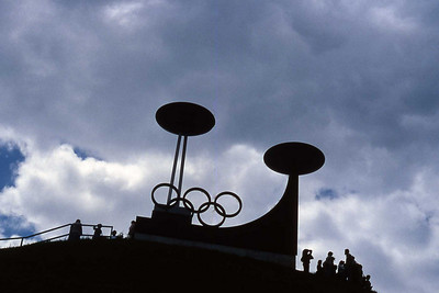 Olympic flame cauldrons from 1964 and 1976 Winter Olympics