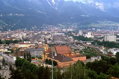 Innsbruck railyard from Olympic ski jump area