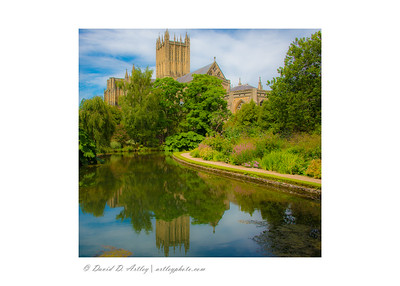 "Wells Cathedral reflection in ""The Wells"" from The Bishop's Palace, Wells, England"