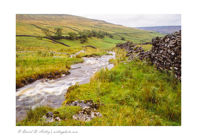 Rock wall and stream in the Yorkshire Dales, England