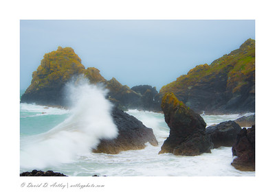 Waves crashing on rocks, Kynance Cove, near Lizard Point, Cornwall, England