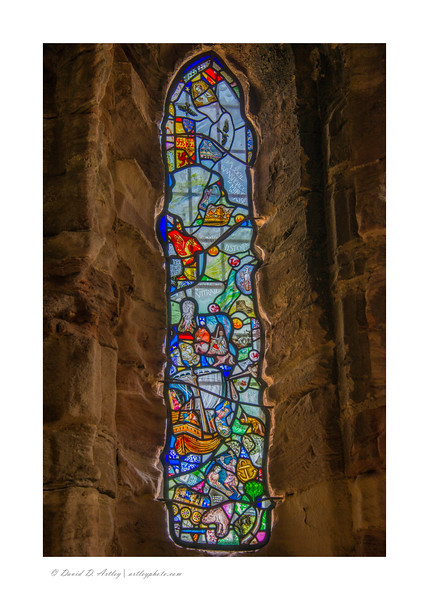 Window detail, The Chancel of the Royal Chapel, Conwy Castle, Conwy, Wales