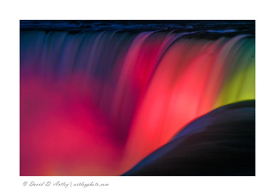 Light show on the Horseshoe Falls, from Canadian side, Niagara Falls, Ontario, Canada