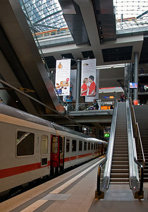 "The new Hauptbahnhof in Berlin has been described as a ""temple to trains"", with its soaring glass spaces and three levels of railroading."