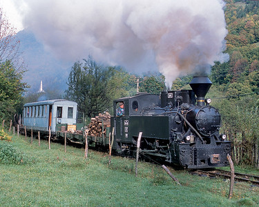 This is one of the tourist locomotives heading up our train of empty log cars heading up the valley.  In the case a flat car was being used as the tender.
