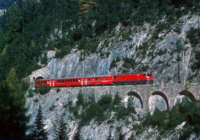 October 1995.  A RhB train climbs Albula pass.