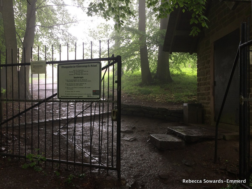 A fews steps beyond the theater, this gate appears. Just beyond is are the ruins of the St Michael Monastery.