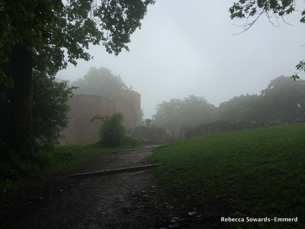 The ruins in the fog.
