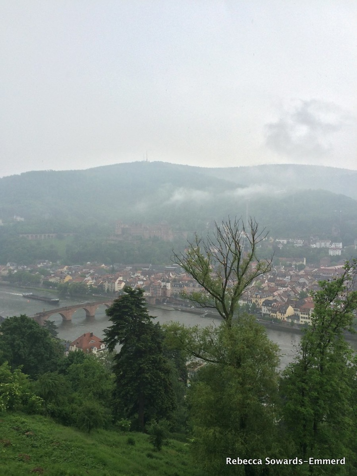 Every once in a while the clouds clear and I get a peek at the river, the old bridge, and the old town.