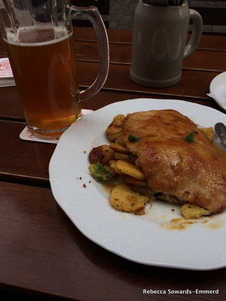 A late lunch at Vetter. Maibock (so good) and some weinerschnitzel with fried potatoes. Mmm.