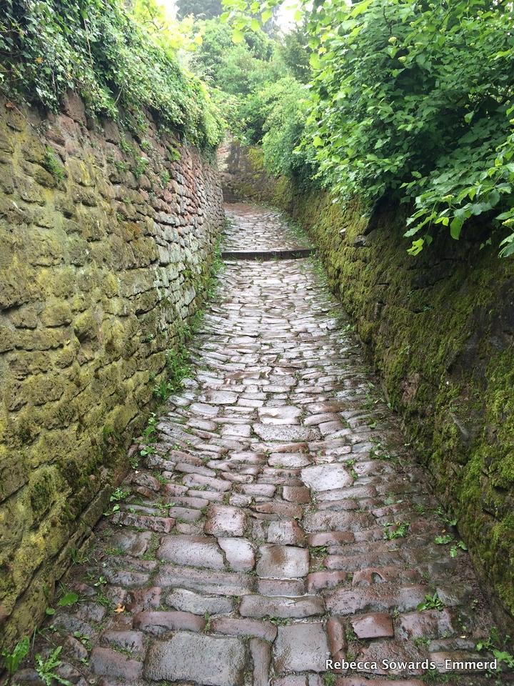 Walking up the slick wet cobblestone path