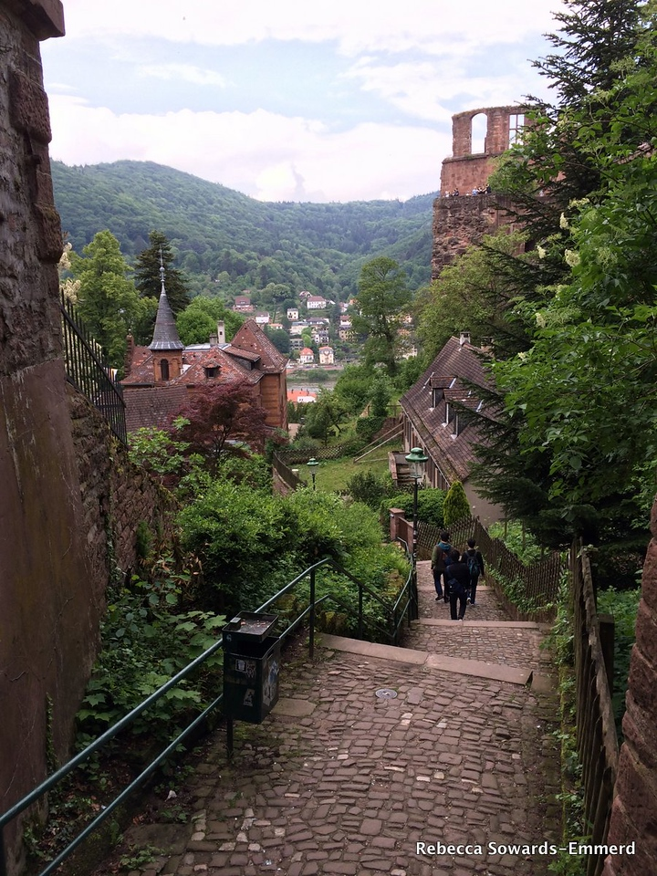 Heading back down the steps into town
