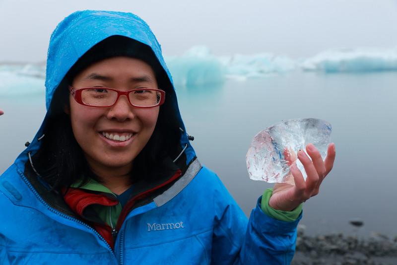 A piece of glacier in Clara's hands.
