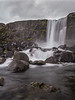 Iceland, Thingvellir - Waterfall on a stormy day