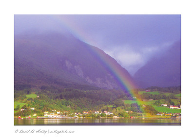 Rainbow over Romsdals Fjord near Andalsnes, Norway