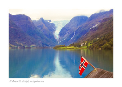 View of Briksdalsbreen Glacier from Oldavatnet Lake, Norway