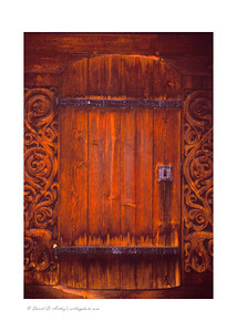 Wooden door detail Heddal Stavkirke, Heddal, Norway